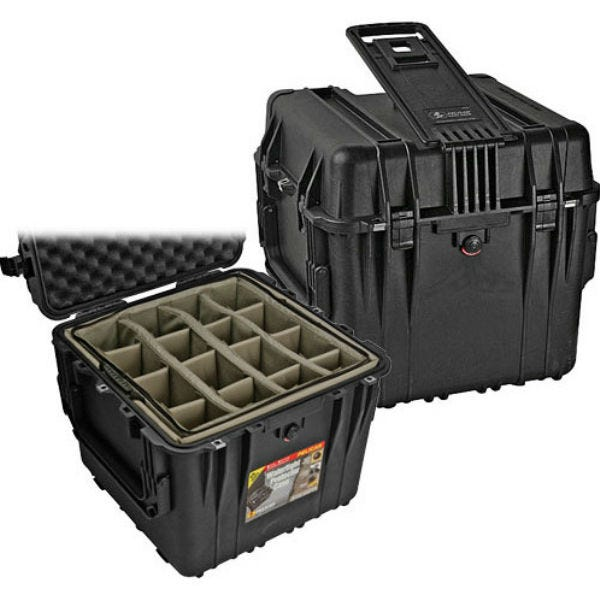 "Pelican 0344 18"" Cube Case with Mobility Kit with Dividers - Black"