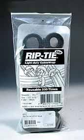"""Rip-Tie Hook and Loop  Cable Ties. Black 10-Pack 1/2"""" x 8"""""""