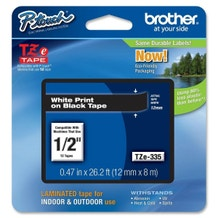 "Brother 1/2"" P-Touch TZe Label Tape with White Letters - Black"