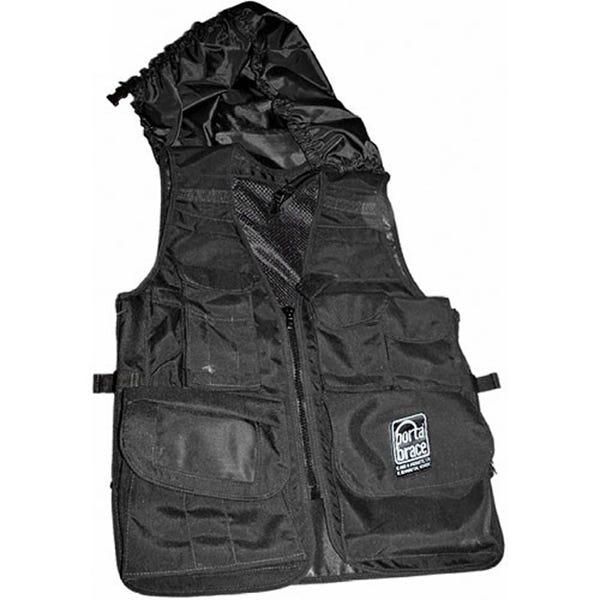 PortaBrace Video Vest with Hood, Black (L-XL) VV-BLH