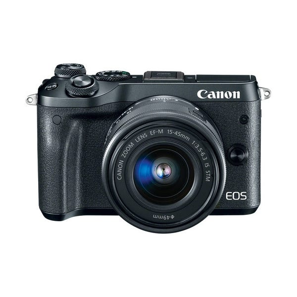 Canon EOS M6 Mirrorless Digital Camera with 15-45mm Lens - Black