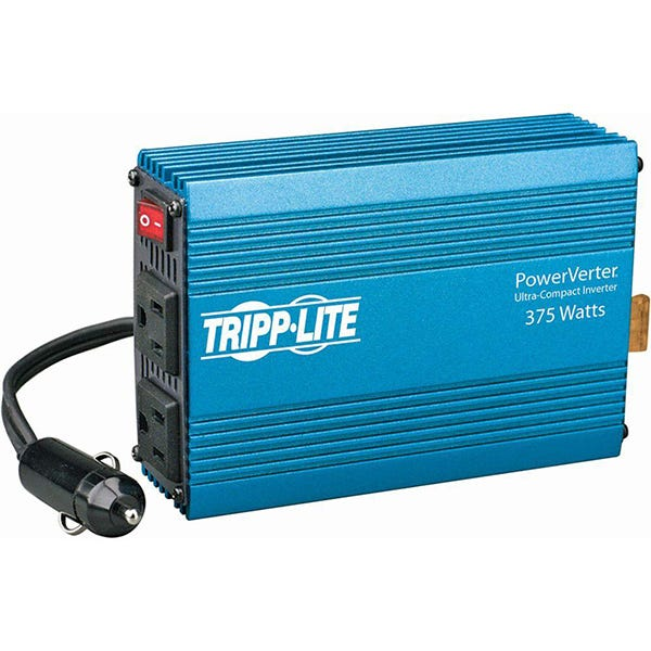 Tripp Lite PowerVerter 375W Ultra-Compact Inverter with 2 AC Outlets - Metallic Blue