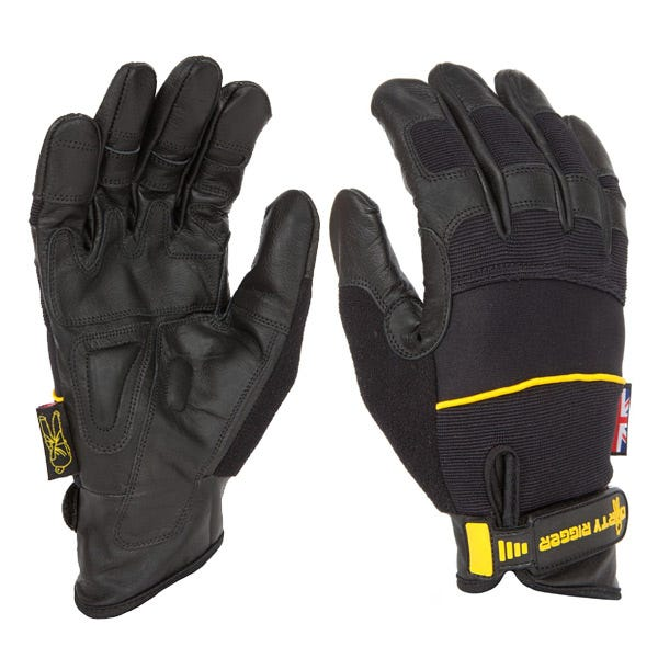 Dirty Rigger Black Leather Grip Gloves - Medium