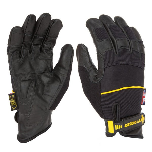 Dirty Rigger Black Leather Grip Gloves (Various Sizes)