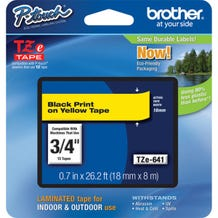 "Brother P-Touch Black on Yellow 3/4"" Laminated Tape for P-Touch Labelers"
