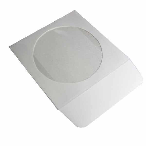 Polyline CD/DVD Sleeve - White - Paperboard - 1.5in Flap - Window - Automatable - Made in USA