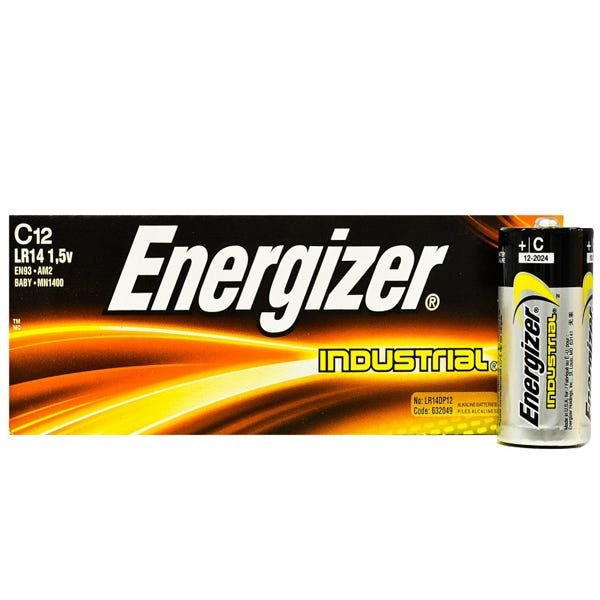 Energizer C Industrial Battery- Alkaline - 12 Pack