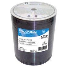Falcon 16X Super Glossy White Thermal Hub Printable 4.7GB DVD-R Shrinkwrap - 100pc