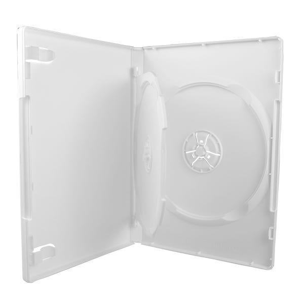 2-Disc DVD Case w/tray  - White - 14mm - Textured -  w/Overl
