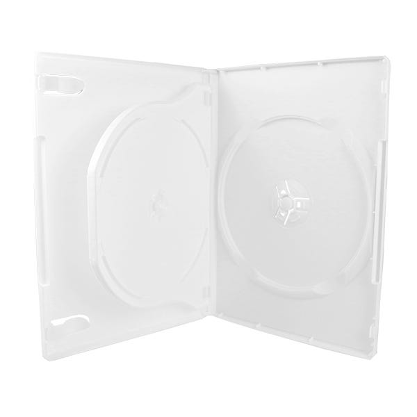 3-Disc DVD Case w/tray  - White - 14mm - Textured -  w/Overl