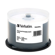Verbatim 52X White Data Life Plus Thermal 80 Min CDR Cake Box - 50pc