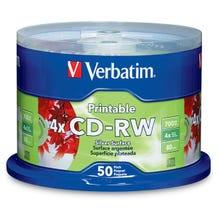 Verbatim 4X Silver Data Life Plus Inkjet 80 Min CD-RW Cake Box - 50pc