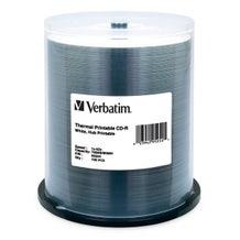 Verbatim 52X White Thermal Hub Printable Everest Compatible 80 Min CDR Cake Box - 100pc