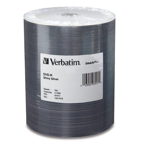 Verbatim 16X Shiny Silver 4.7GB DVD-R Shrinkwrap - 100pc