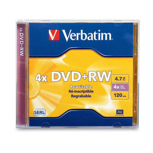 Verbatim 4X Branded Rewritable 4.7GB DVD+RW in Jewel Case - 1pc