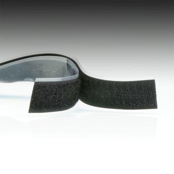"1"" Black Hook and Loop Adhesive Backed Material - 10 Feet"