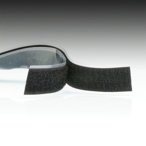 "1"" Black Hook and Loop Adhesive Backed Material - 5 Feet"