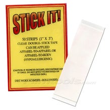 """Stick It! 4002S 1""""x3"""" Double-Sided Wardrobe Adhesive Tape - 50 Strips"""
