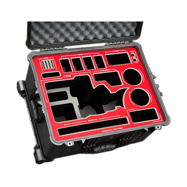 Jason Cases Hard Travel Case for Canon C300 Mark II Camera & LCD Screen (Red Overlay)