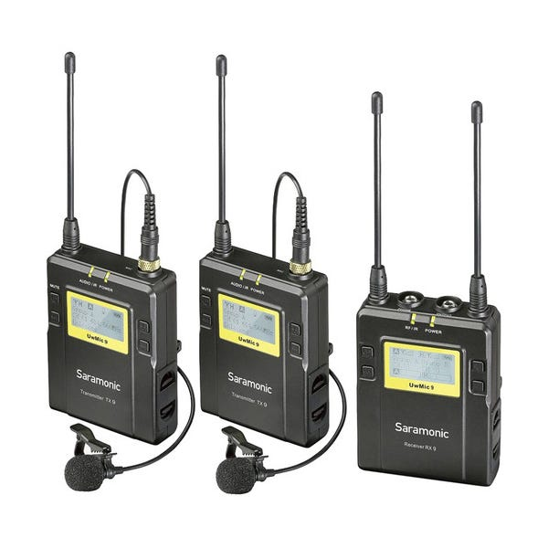 Saramonic UWMIC9 RX9 + TX9 + TX9, 96-Channel Digital UHF Wireless Dual Lavalier Mic System (514 to 596 MHz)