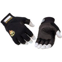 Setwear Black 3/4 Fingerless Leather Gloves - Large