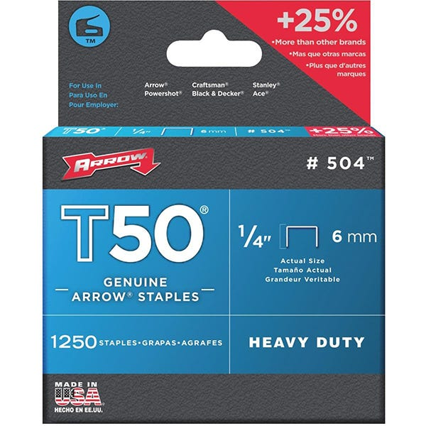 Arrow T50 Staples - (6mm) 1/4""
