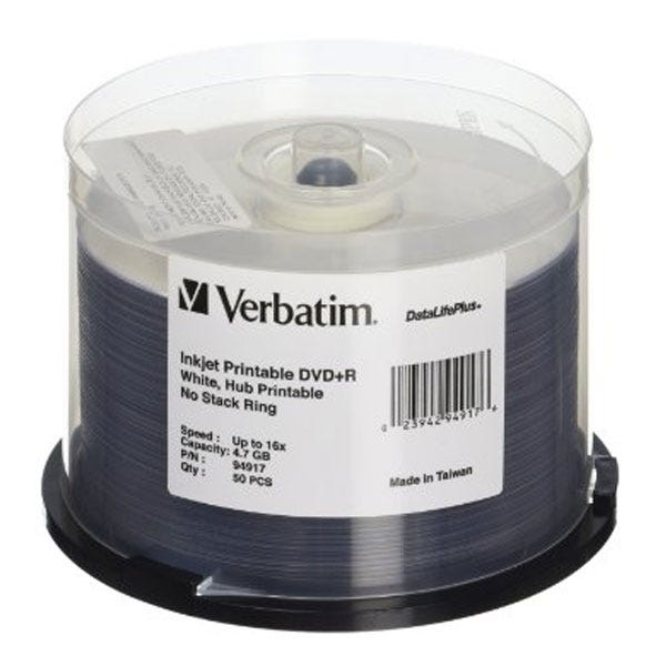 Verbatim 16X DataLifePlus White Inkjet Printable Hub No Ring 4.7GB DVD+R - 50pc