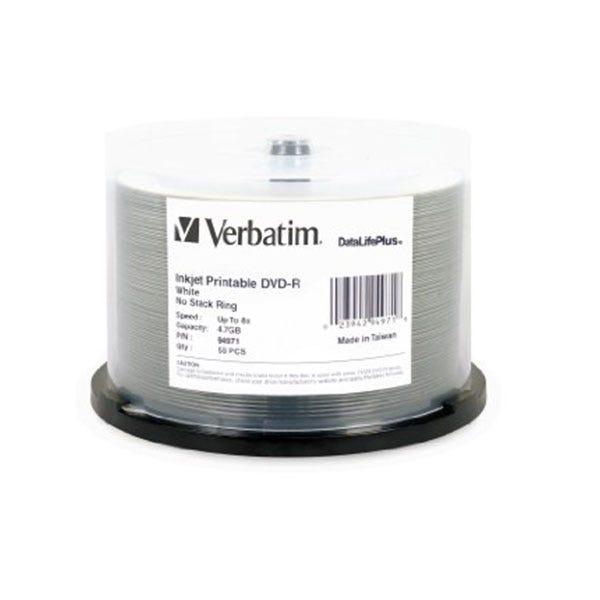 Verbatim 8X DataLifePlis White Inkjet Printable 4.7GB DVD-R - 50pc