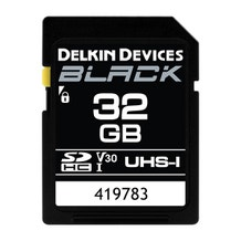 Delkin Devices 32GB BLACK UHS-I (U3/V30) SDXC Memory Card