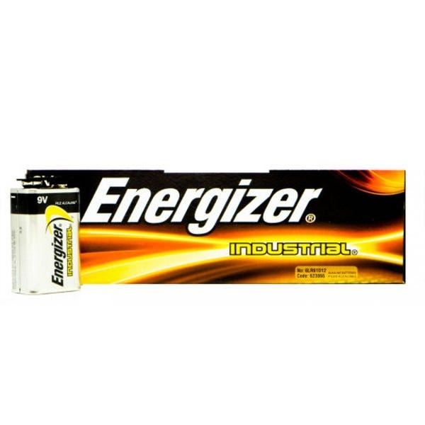 Energizer 9 Volt Industrial Battery - Alkaline - 12 Pack