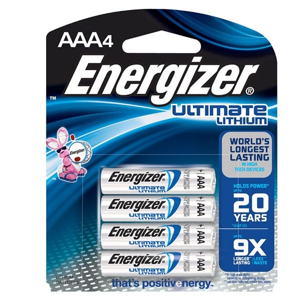 Energizer AAA Ultimate Battery - Lithium - 4 Pack