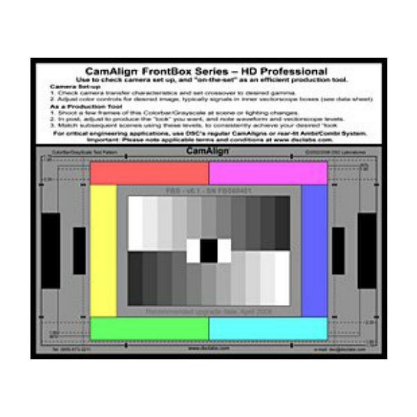 DSC Labs CamAlign Color Chart - FRONT BOX HD STANDARD