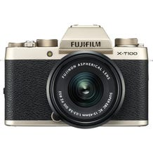 FUJIFILM X-T100 Mirrorless Digital Camera with 15-45mm Lens - Champagne Gold