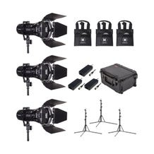 HIVE LIGHTING 3-Piece Wasp 100-C LED Spot Light Kit with 3 Stands & Case