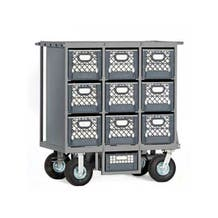 "Studio Carts Nine Crate Cart with 2x 10"" Rigid and 2x 10"" Swivel Pneumatic Wheels"