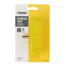 Prime PBAD0100 Triple Tap (Outlet Splitter) Flat, Yellow