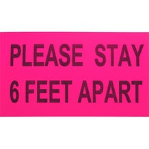 "ProTape - ""Please Stay 6 Feet Apart"" - Pink/Black 6x10 Adhesive Sign - 500 Pack"