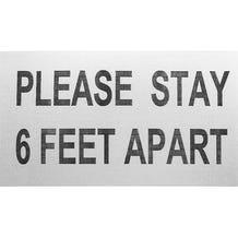 "ProTape - ""Please Stay 6 Feet Apart"" - White/RED 6x10 Adhesive Sign - 500 Pack"