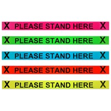 "ProTape - ""Please Stand Here"" - 3x36 Adhesive Strip 20 signs per roll - Various Colors"