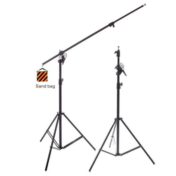 RPS Studio 12' Black Heavy-Duty Convertible Boom Arm/Light Stand