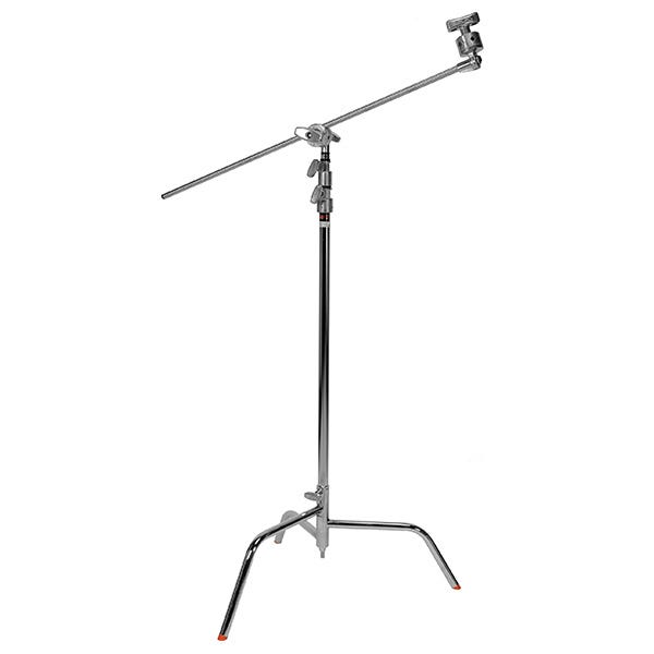 "Matthews Studio Equipment 40"" Chrome Hollywood C+ Stand with Spring Loaded Turtle Base, Grip Head & Arm"