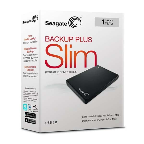 Seagate Backup Plus Slim Portable External Hard Drive (Various Colors and Memory Capacities)