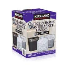 Kirkland 10 Gallon Trash Bags Clear - 500 Bags