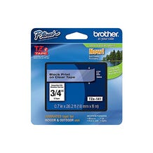 "Brother 3/4"" P-Touch TZe Label Tape with Black Letters - Clear"