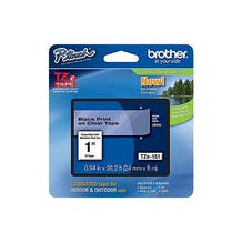"Brother 1"" P-Touch TZe Label Tape with Black Letters - Clear"