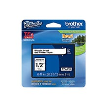 "Brother 1/2"" P-Touch TZe Label Tape with Black Letters - White"