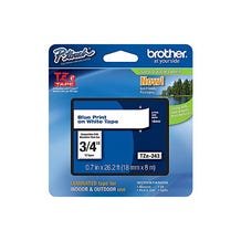 "Brother 3/4"" P-Touch TZe Label Tape with Blue Letters - White"
