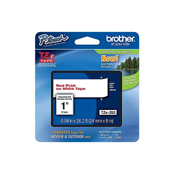 "Brother 1"" P-Touch TZe Label Tape with Red Letters - White"