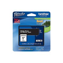 "Brother 1"" P-Touch TZe Label Tape with White Letters - Black"