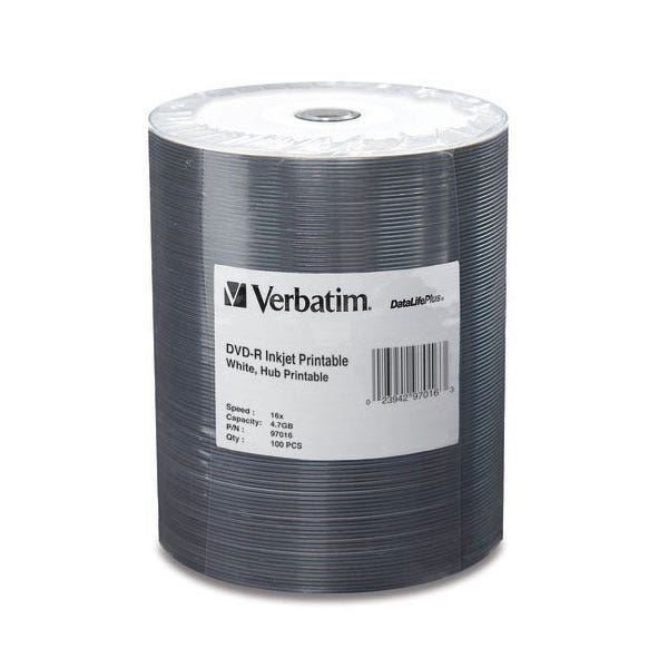 Verbatim DVD-R 4.7GB 16x Inkjet Printable Disc - 100pc